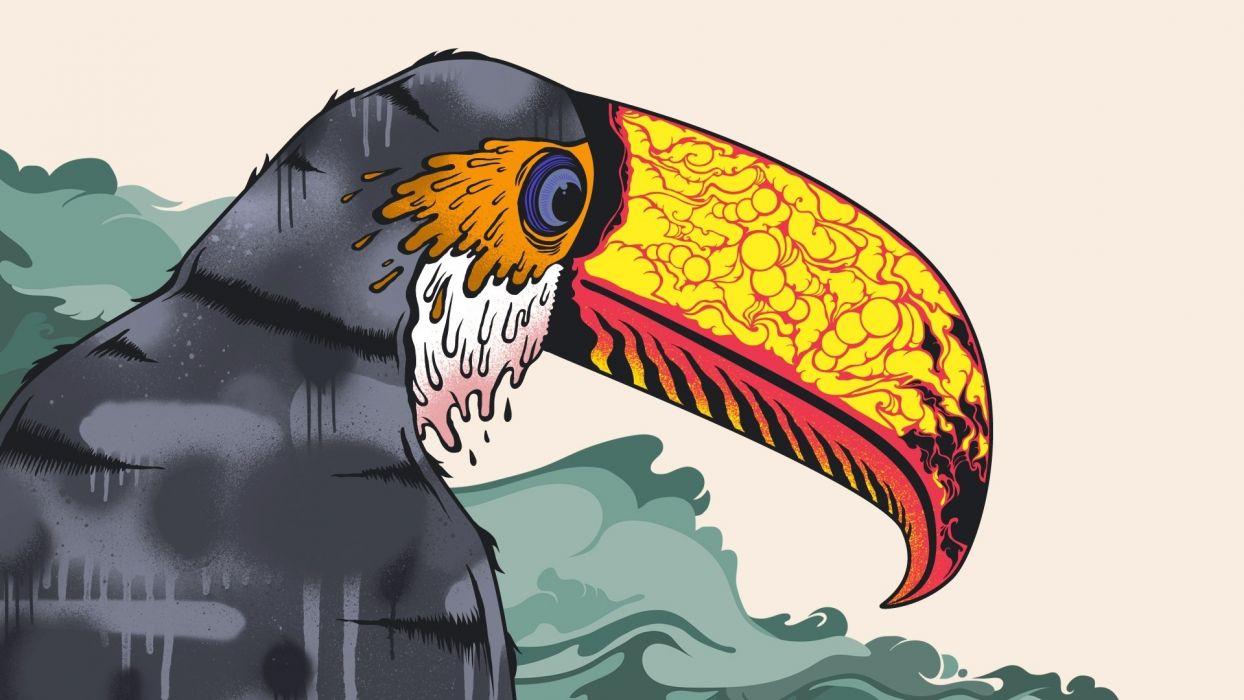 toucans art psychedelic color vector animals birds tropical bright wallpaper