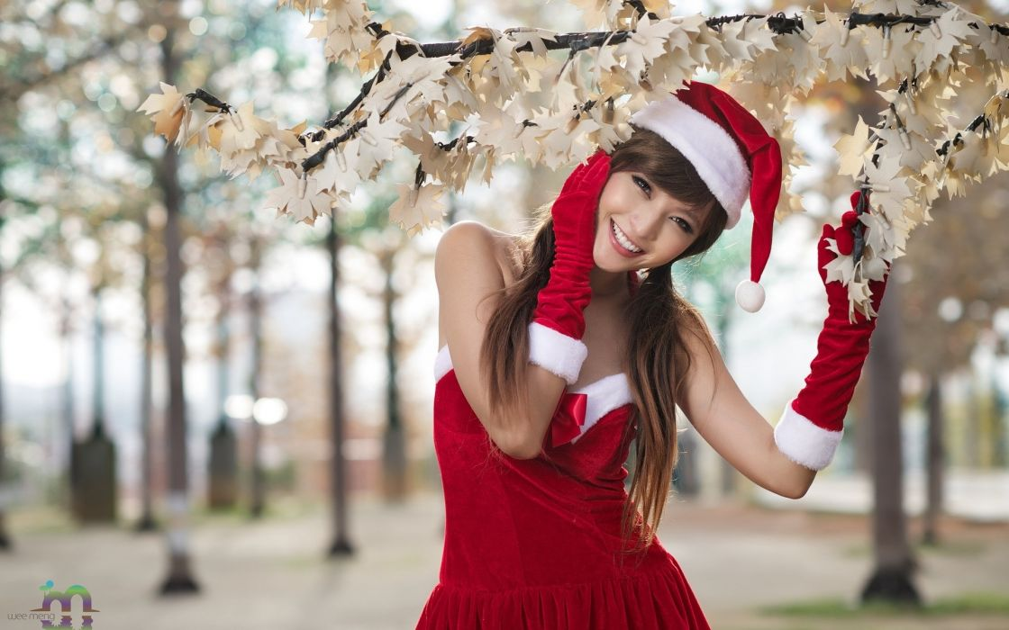 holidays christmas asian oriental seasonal women females girls babes models sexy sensual brunette flowers blossoms wallpaper
