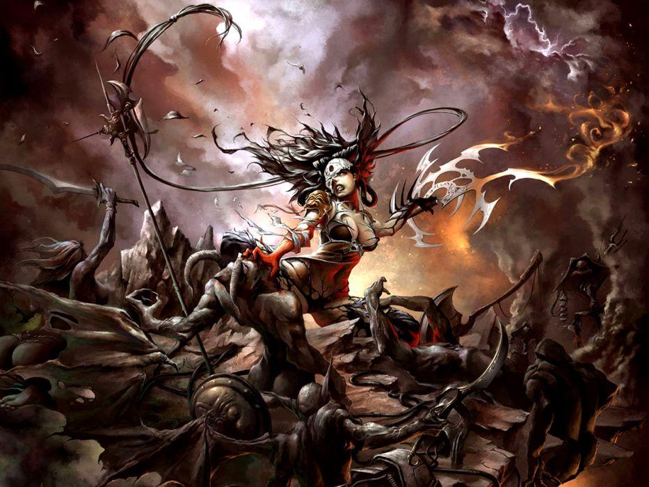 fantasy warriors monsters creatures battle war violence weapons dark sword armor fire flames magic women females girls sky clouds evil wallpaper