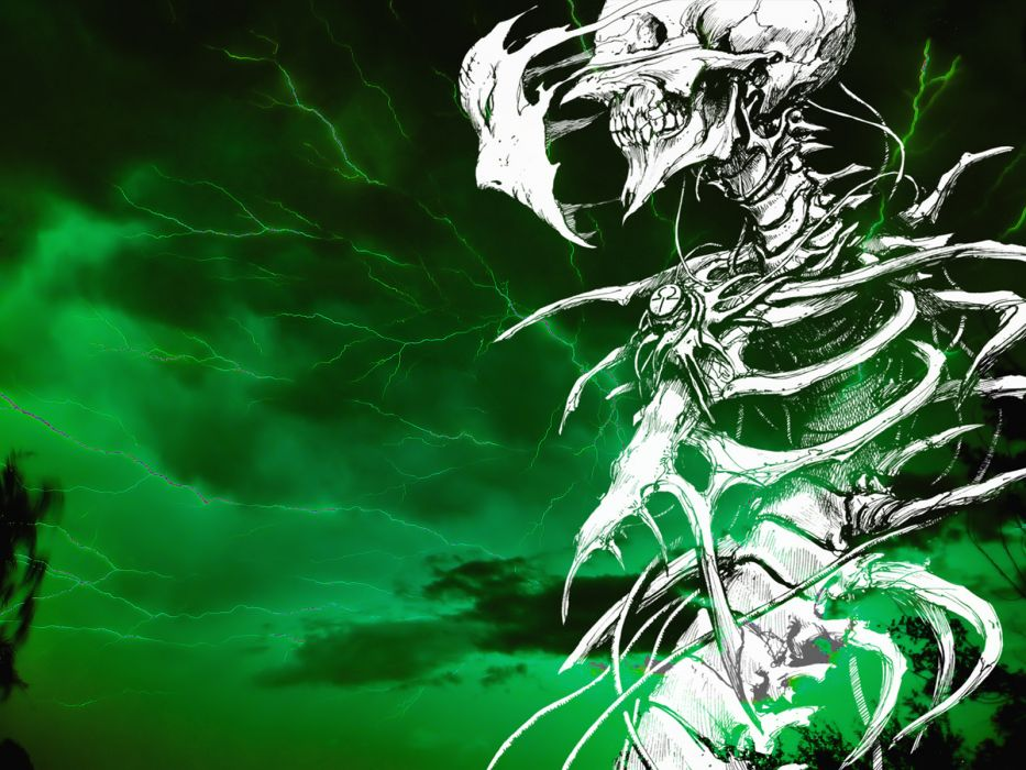 dark horror scary creepy spooky skeleton skull lightning evil wallpaper