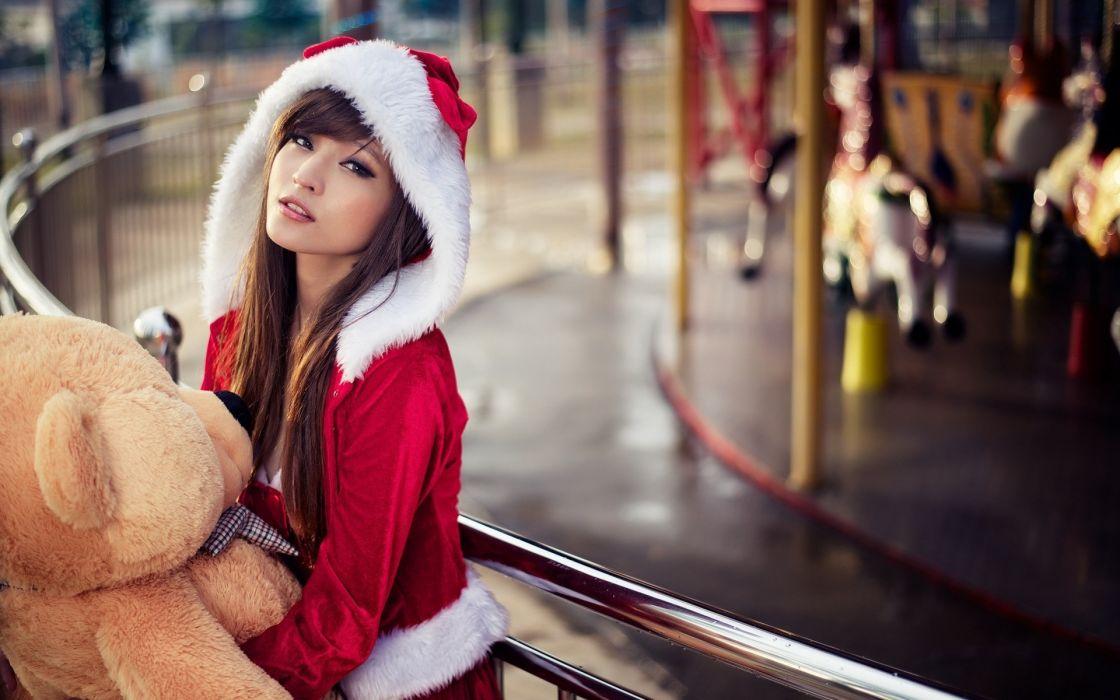 holiday christmas seasonal teddy bear animals oriental asian women females girls babes models sexy sensual wallpaper