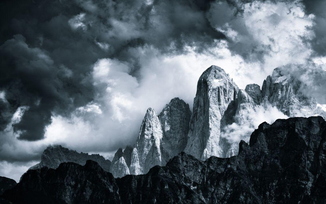nature landscapes mountains monochrome black white sky clouds wallpaper