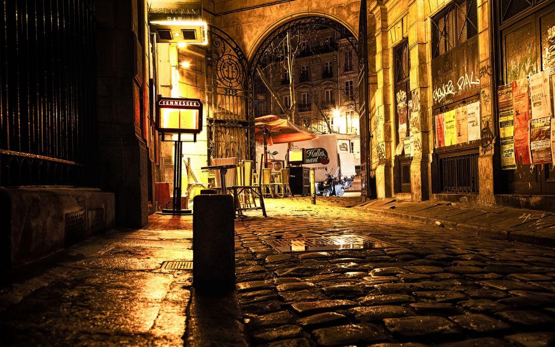 world architecture buildings roads cobblestone graffiti wet rain lights bright sign place urban wallpaper