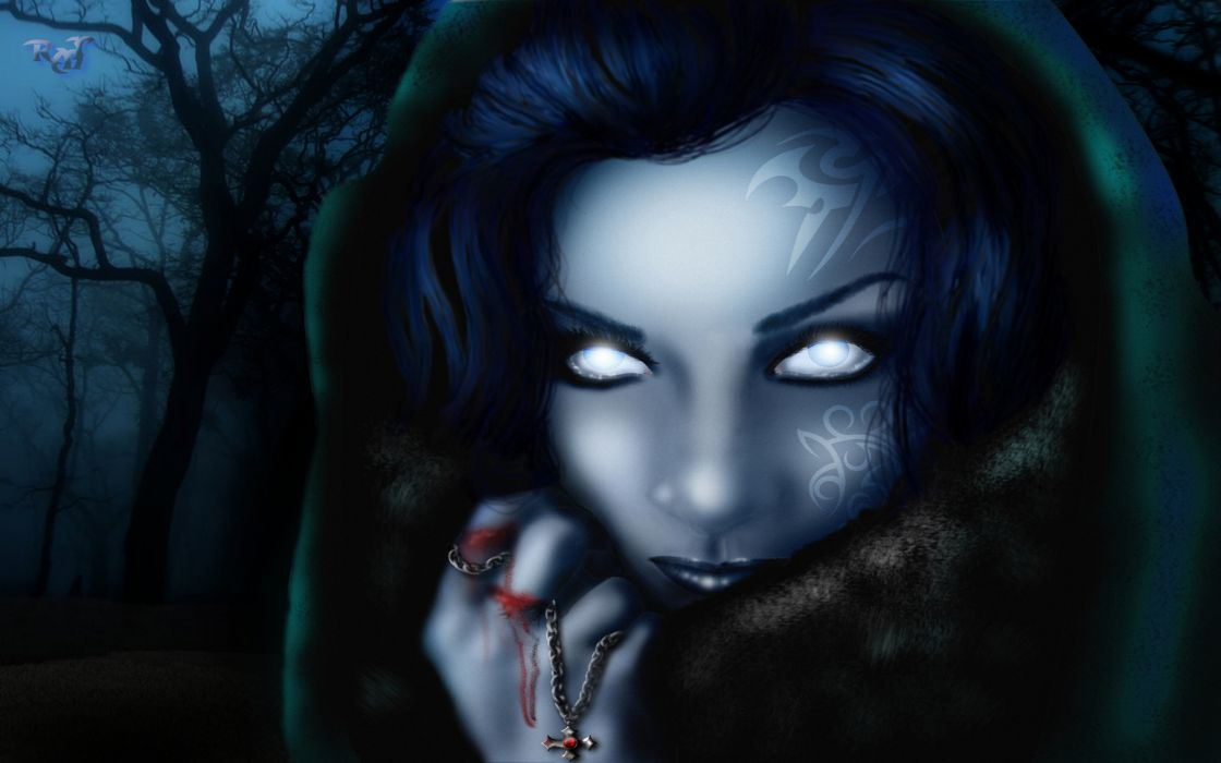 The Dark Muse metaldawn_deviantart_com dark fantasy witch occult spooky creepy evil eyes face wizard sorcerer magician horror blood demon vampire wallpaper