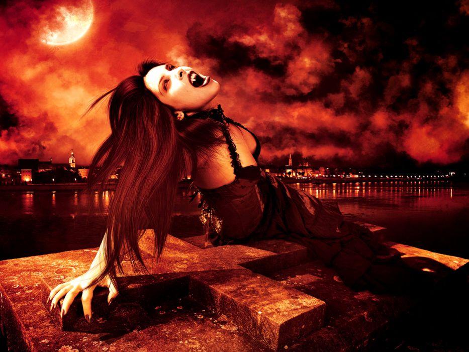Avelina-De-Moray(artist) dark fantasy vampire manipulation cg digital art evil horror scary creepy spooky women females girls brunette fangs face eyes brunette boob cleavage moon sky clouds wallpaper
