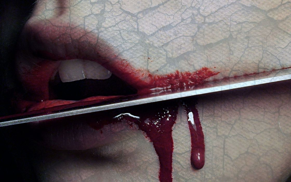 dark gothic emo blood horror scary creepy spooky knife weapon death mood emotion lips macabre wallpaper