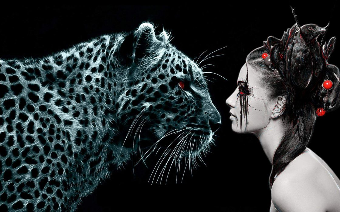 fantasy dark gothic muse witch vampire women females girl brunette pale animals leopards cg digital art whiskers fir spots pattern mood wallpaper