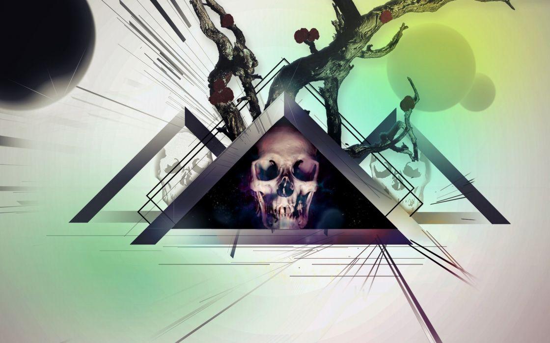 dark skull art cg digital psychedelic wallpaper