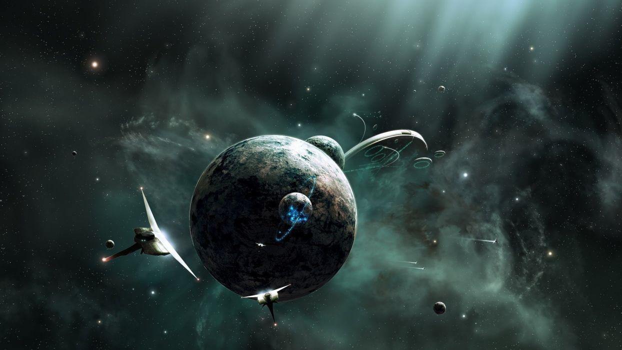 sci fi science space planets spaceship spacecraft vehicles stars light nebula cg digital art wallpaper