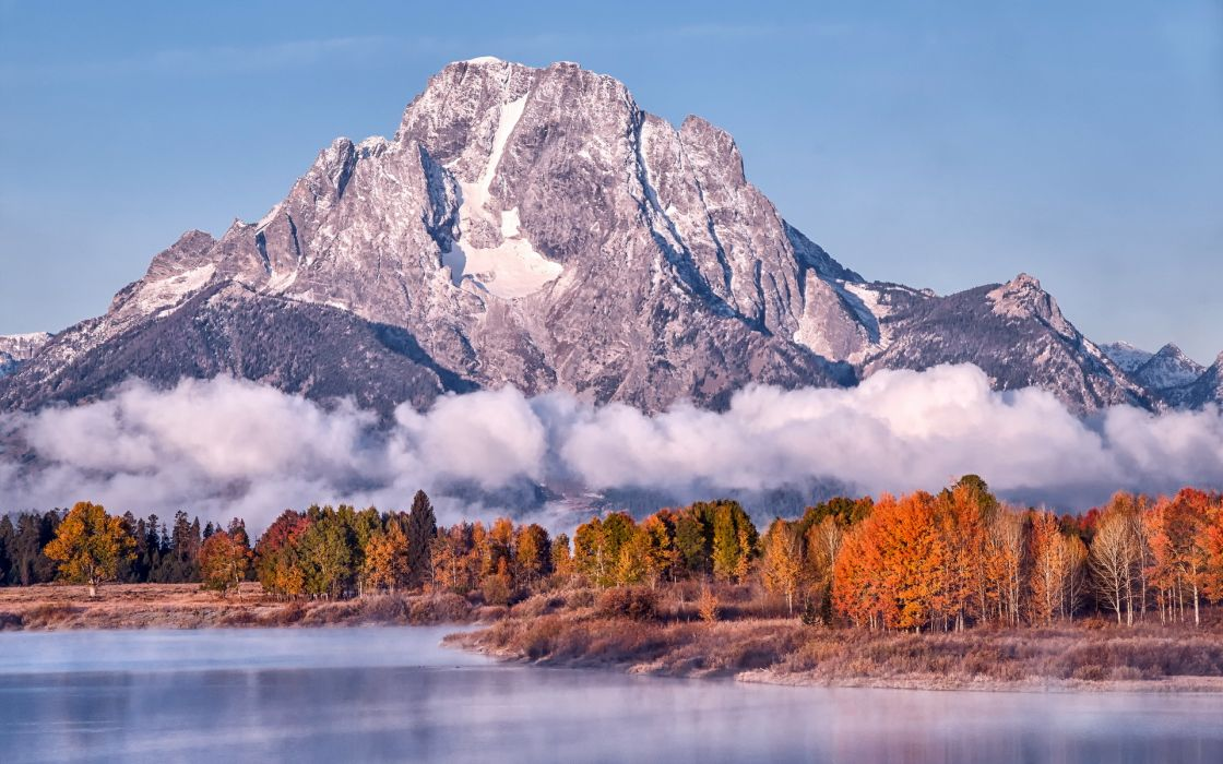 nature landscapes lakes mountains sky autumn fall leaves fog clouds wallpaper