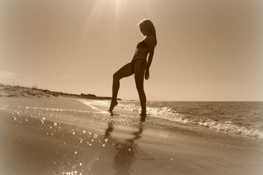 women females girls babes models sexy sensual bikini blondes mood emotion nature beaches ocean seasunlight sepia wallpaper