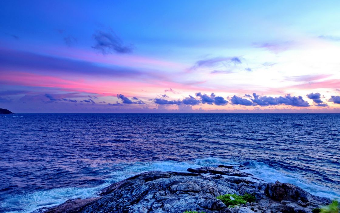 nature sea ocean color blue seascape waves sky clouds sunrise sunset wallpaper