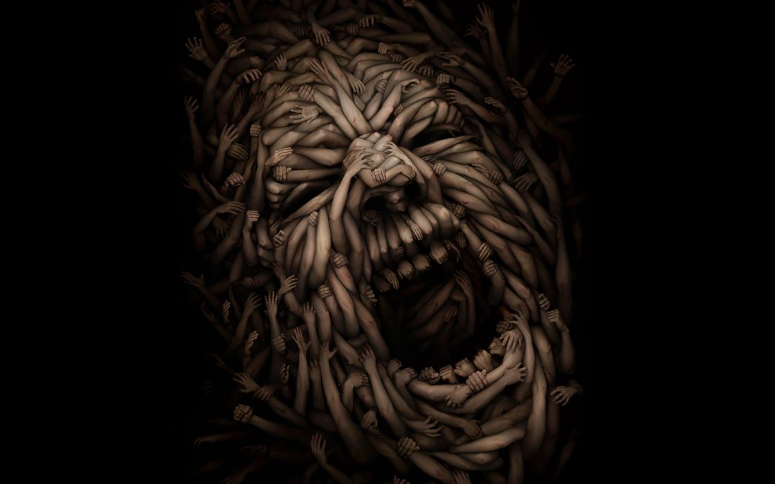 cg digital art dark horror scary creepy spooky mood emotion pain scream wallpaper