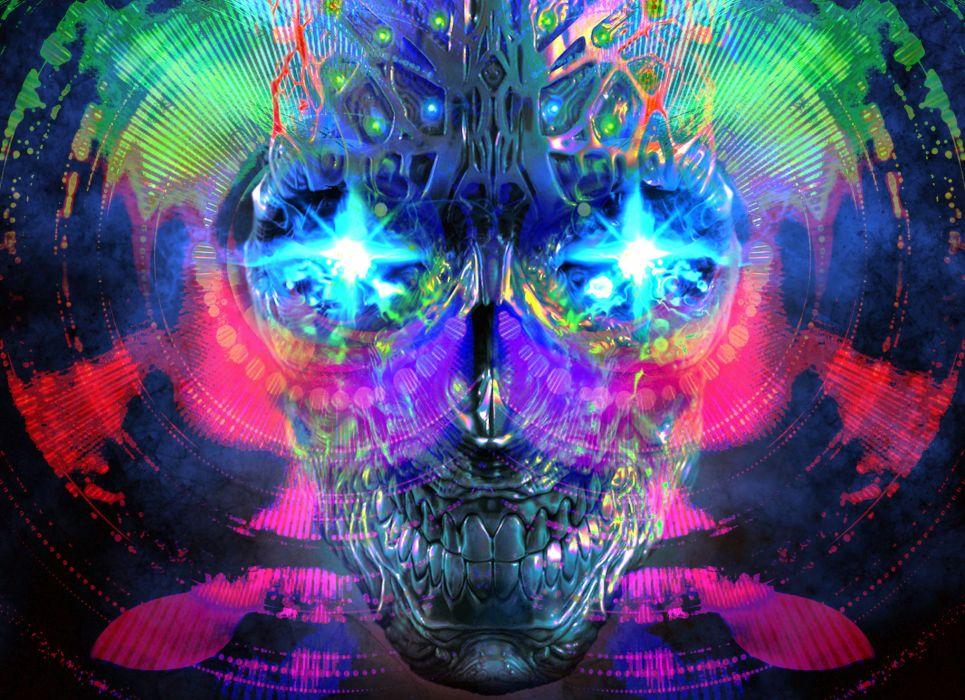 dark skull color art teaser mind psychedelic eyes wallpaper