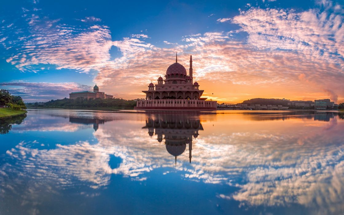 Malaysia Putrajaya world architecture buildings hdr lakes rivers water reflection sky clouds sunrise sunset cities wallpaper