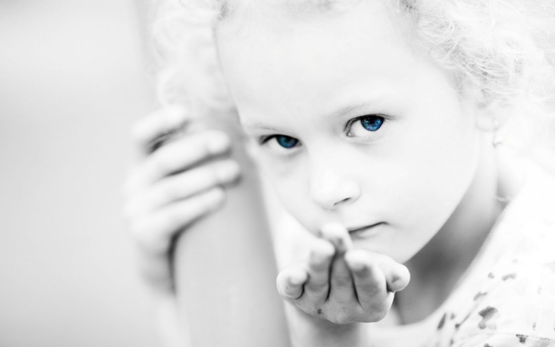 people children kids girls females face eyes pov black white selective mood emotion bokeh wallpaper