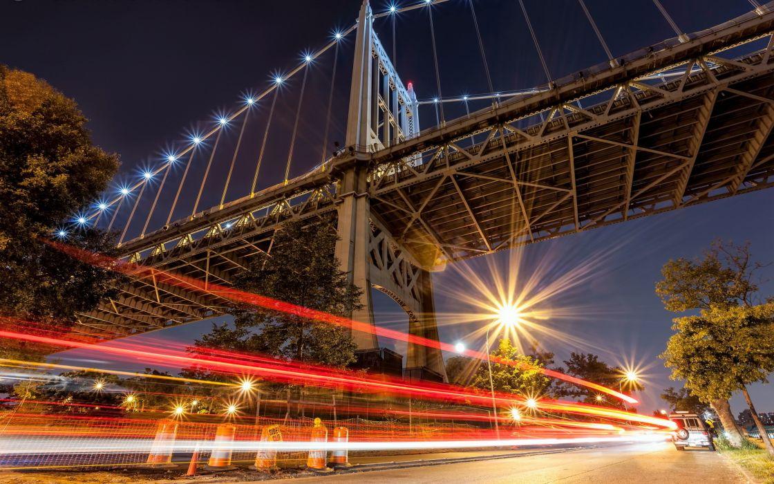 Triborough/RFK Bridge new york timelapse traffic vehicles cars architecture world bridges night lights photography wallpaper