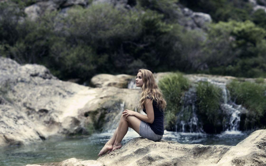 women females girls babes models blondes legs mood landscapes rivers wallpaper