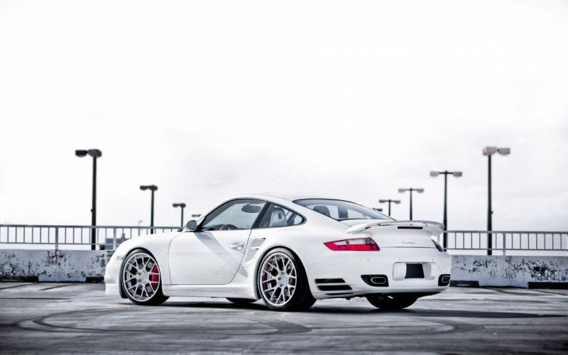 Porsche 911 TT Turbo 997 vehicles cars auto white stance tuning roads wallpaper