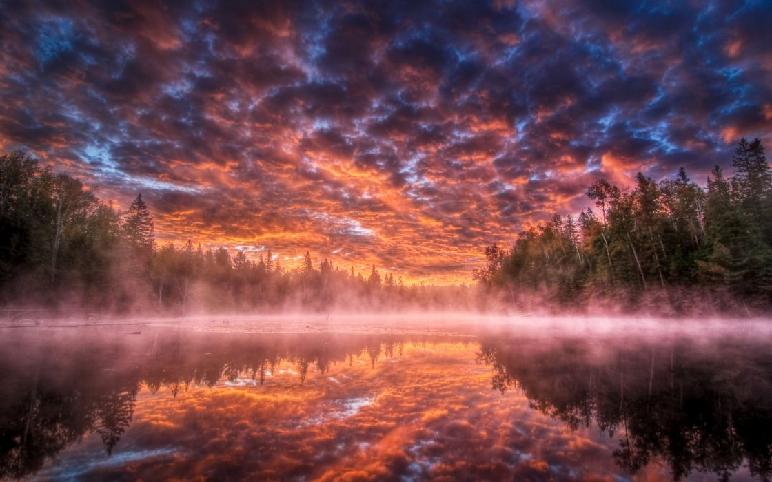 nature landscapes lakes water reflection fog trees forest sky clouds sunset sunrise color hdr wallpaper