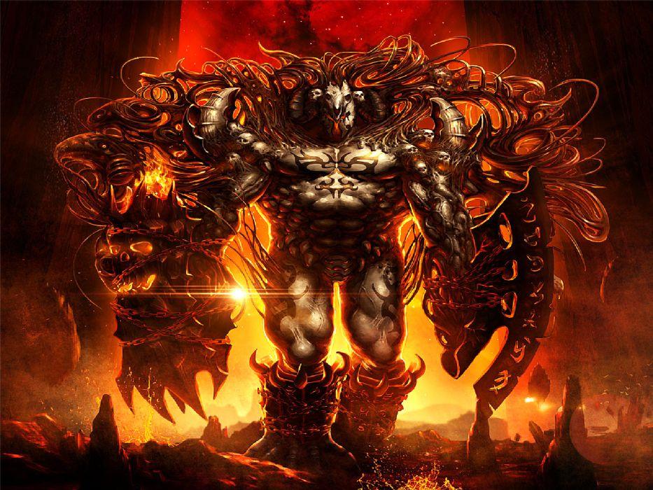 fantasy dark art demon hell fire flame evil monster creature skull weapon wallpaper