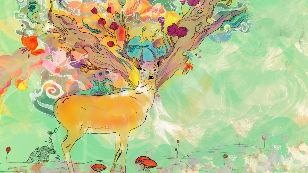 art psychedelic color surreal paintings animals deer mood wallpaper