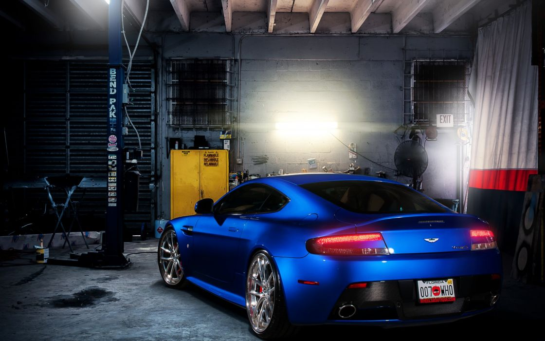 Aston Martin Vantage S vehicles cars auto tuning blue stance garage wallpaper