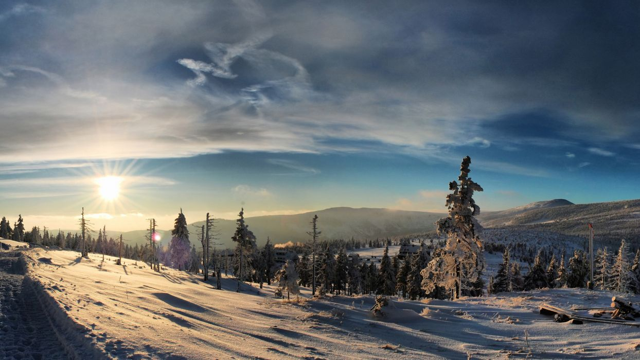 nature landscapes mountains meadow trees forest winter snow seasons sky clouds cold sunset sunrise sunlight wallpaper