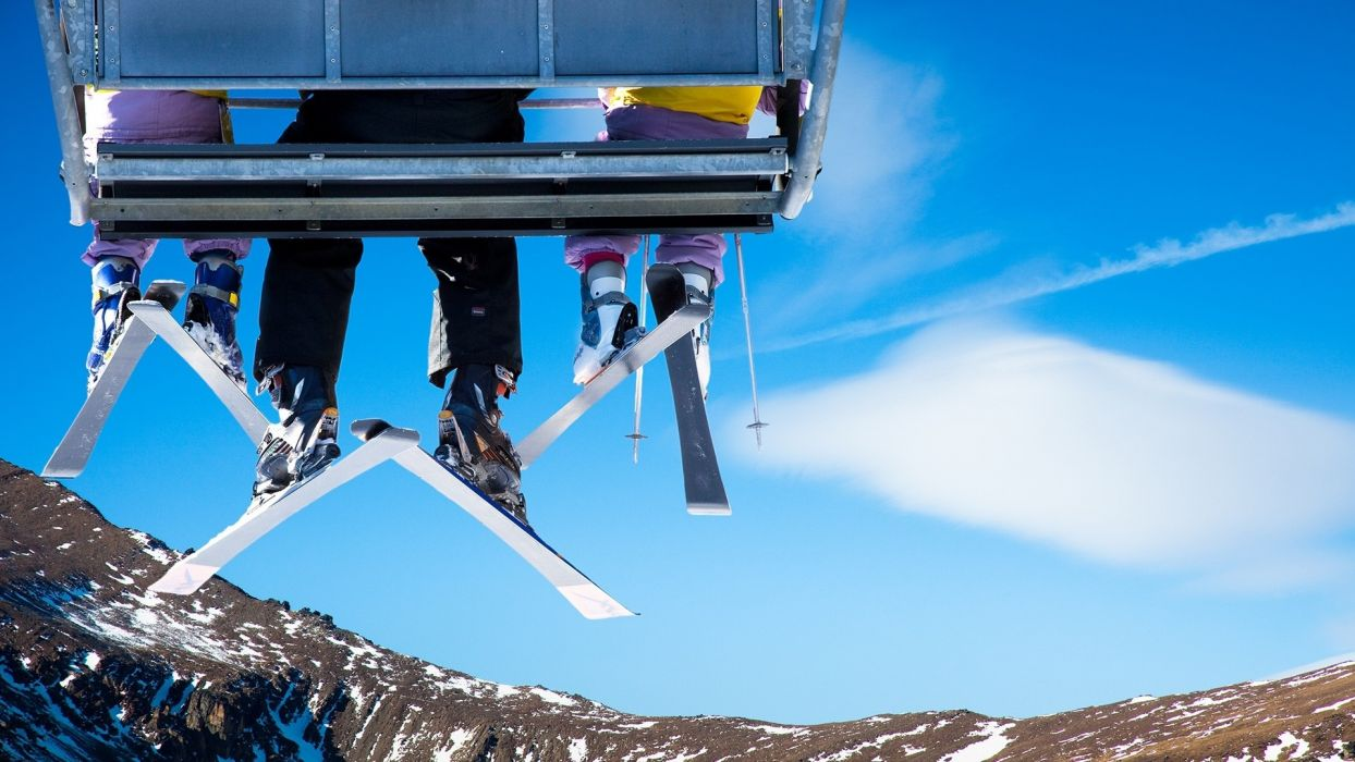 sports ski lift chair bench seat legs winter snow mood emotion fun happy friends mountains landscapes sky clouds wallpaper