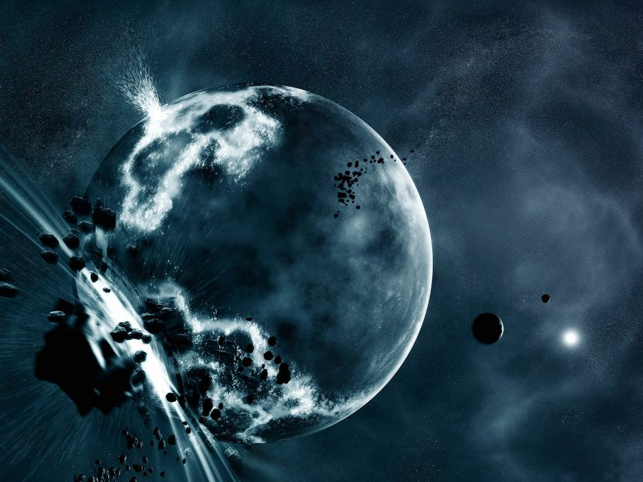 sci fi science space stars planets asteroids comet collision apocalyptic explosion cg digital art wallpaper