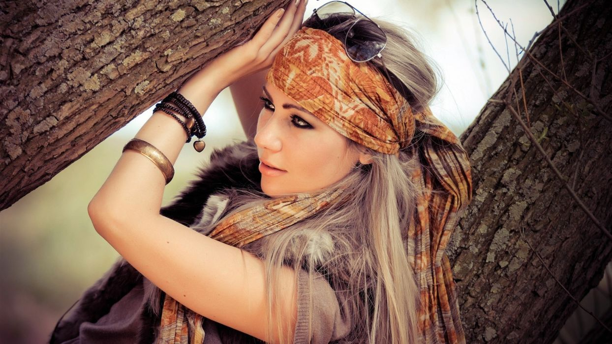 women females girls babes models style fashion sensual blondes face eyes jewelry scarf wallpaper