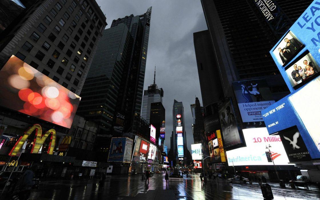 New York Times Square world architecture cities roads street storm rain wet reflection buildings skyscraper skyline sign neon urban wallpaper