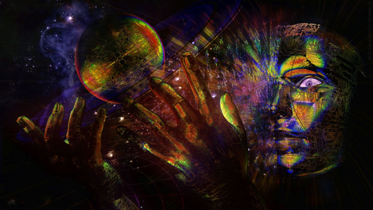 psychedelic cg digital art sci fi science space universe surreal mood emotion color planets hands face eyes stars space magic creation religion god wallpaper