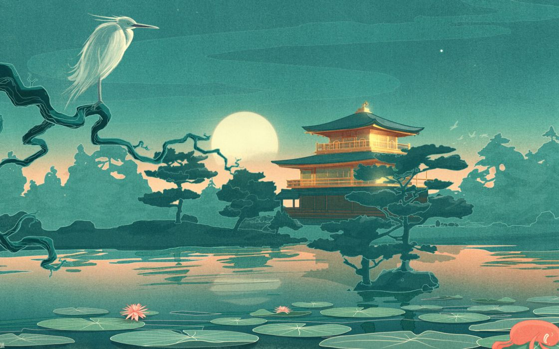 thefoxisblack_com asian oriental cultural lakes ponds gardens nature art animals birds crane flowers lily lilies sky moon reflection mood architecture fantasy castle buildings trees landscapes wallpaper