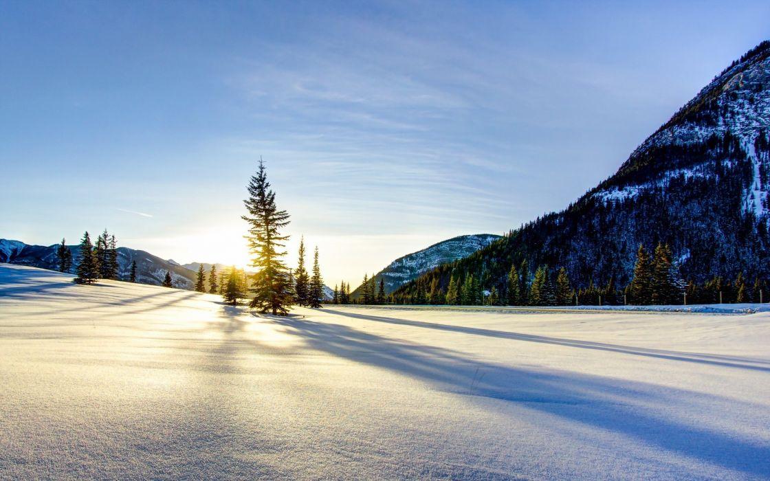 nature landscapes meadow mounatins trees sky clouds winter snow seasons sunlight sunrise sunset sparkle white wallpaper