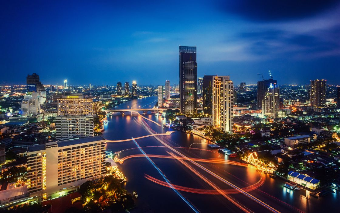 Chao Phraya River Bangkok Thailand world architecture cities buildings skyscrapers timelapse vehicles boats night lights color sky clouds hdr wallpaper