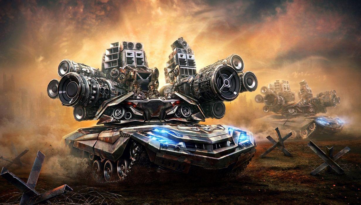 dub music speakers loud dj electronic trance art psychedelic military tank cartoon battle war wallpaper