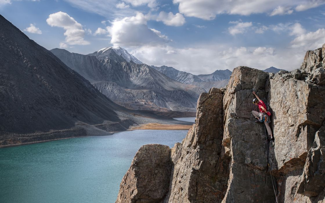 sports climbing nature landscapes mountains cliff lakes rivers sky clouds extreme people men males wallpaper