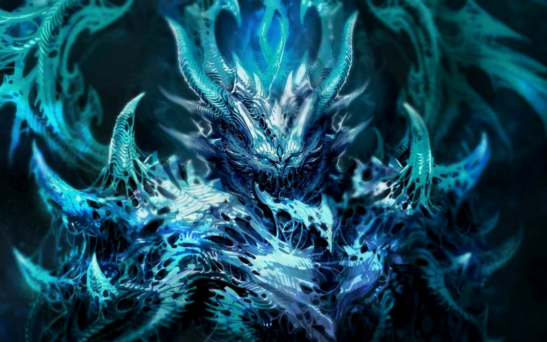 dark fantasy demon satan angel monster creature 3d magic horns blue art evil wallpaper