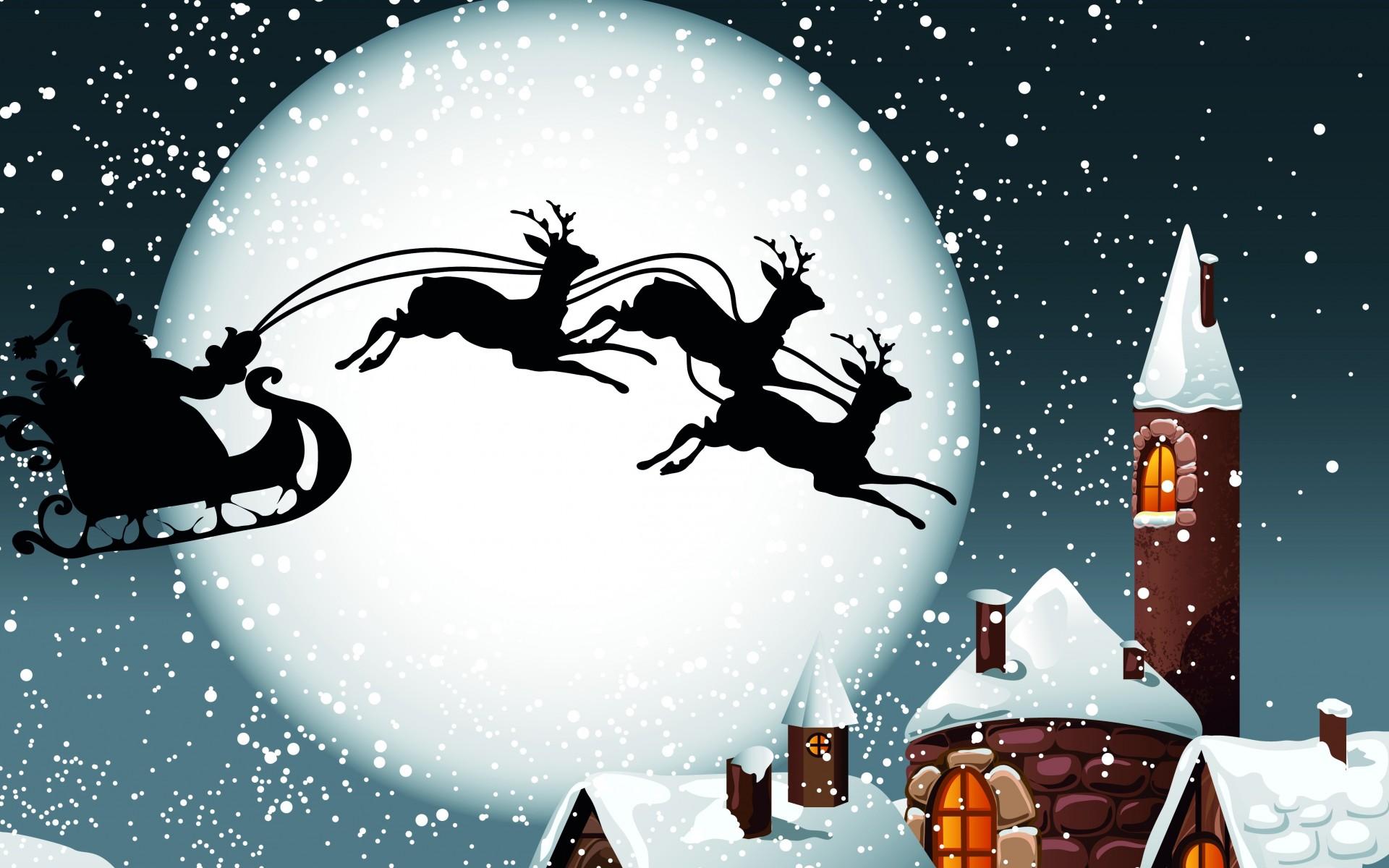 holidays christmas reindeer sleigh santa claus wallpaper