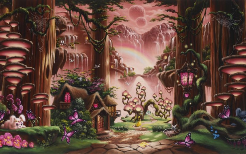 fantasy fairy tale art magic cartoon trees forest cute kids children scenic waterfall nature mountains soft mood architecture buildings houses cabin path trail animals cute sky moon wallpaper
