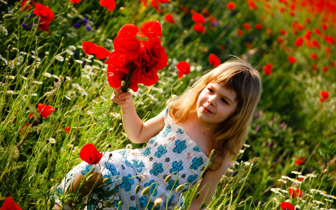 people children kids cute females girls blondes nature garden fields plants flowers red poppies red color wallpaper