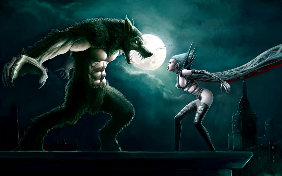 Lycan vs Vampire underworld fanart fantasy dark creatures monsters werewolves vampire evil undead death battle war art scary spooky creepy halloween moon sky clouds gothic women females girl babes sexy sensual fangs wallpaper