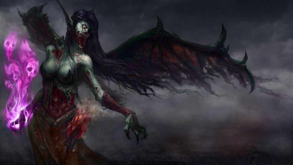 dark fantasy vampire horror macabre undead demon blood gore fangs occult evil halloween skulls magic hellfire fire flames women females girls decay ruin wallpaper