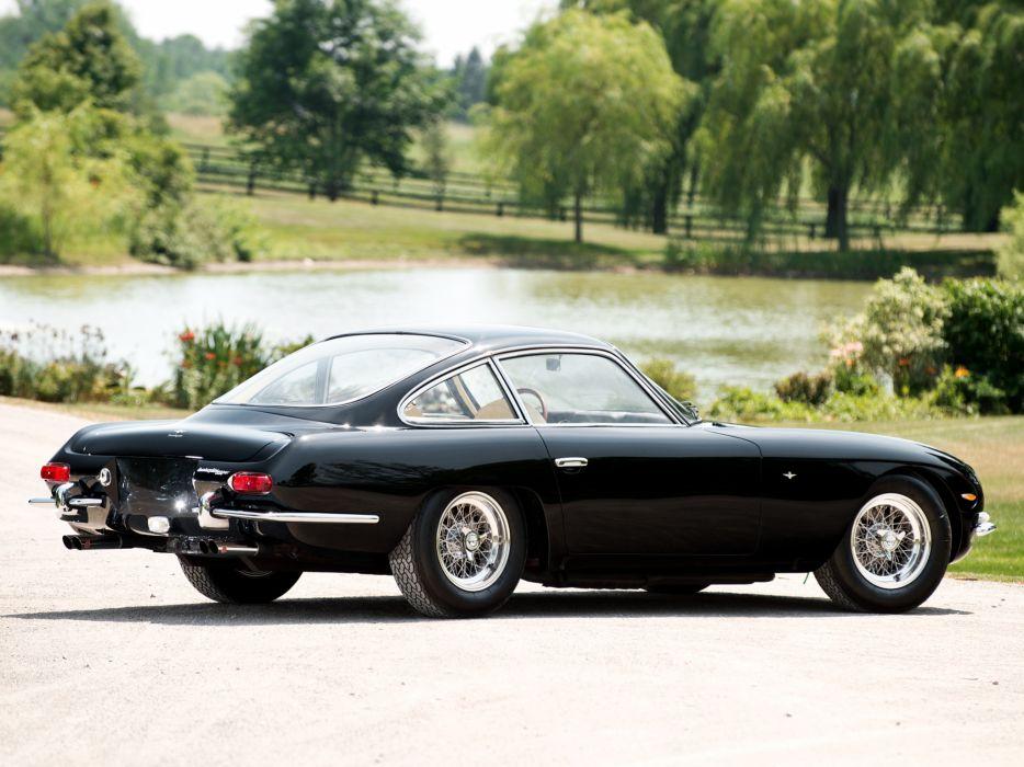 Lamborghini Black 350 GT vehicles cars auto retro classic black stance wheels chrome roads lakes trees wallpaper