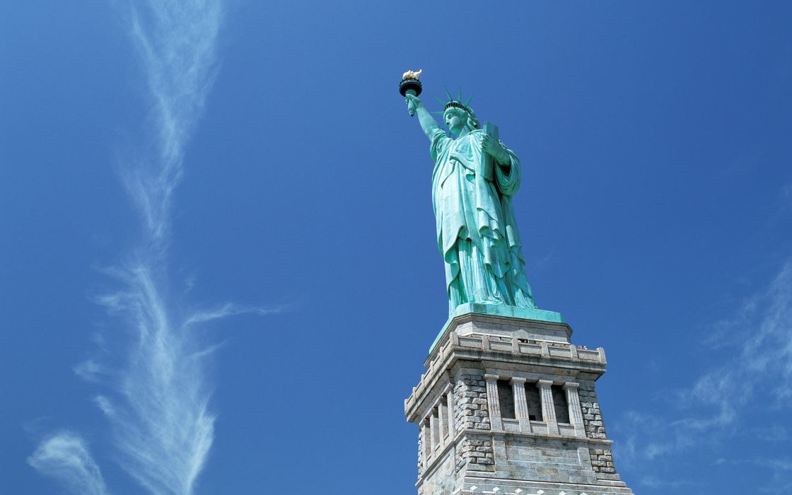 Statue of Liberty world architecture monument usa america women females girls freedom fire flames sky wallpaper