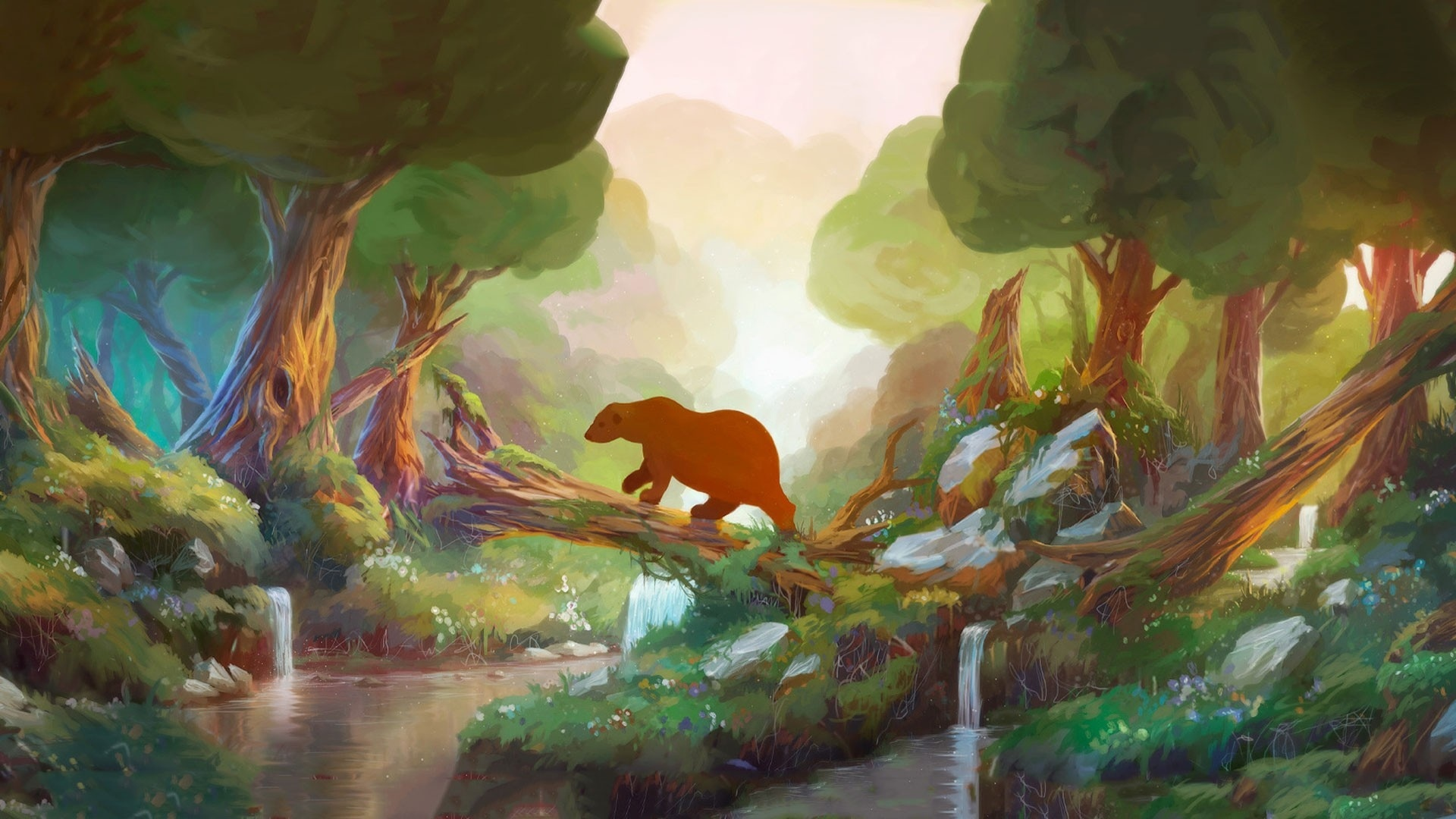 Anime cartoon fantasy children kids art paintings animals bears