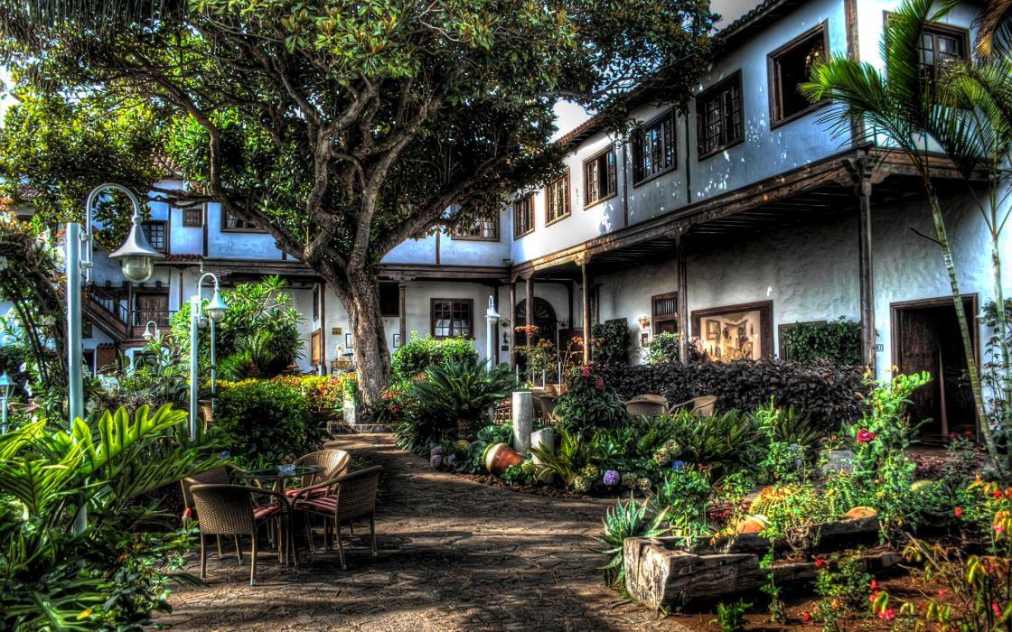 Spain hdr world architecture buildings houses villa mansion tropical garden flowers wallpaper