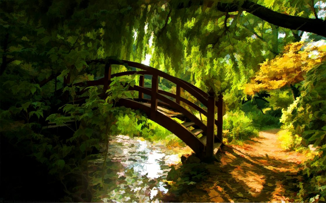 world art paintings watercolor nature architecture bridges garden rivers stream trees forest spring sunlight color shade season wallpaper