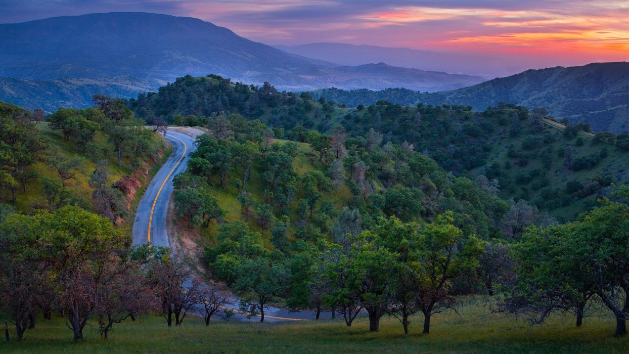 world roads nature landscapes trees forest hills mountains sky clouds sunset sunrise wallpaper